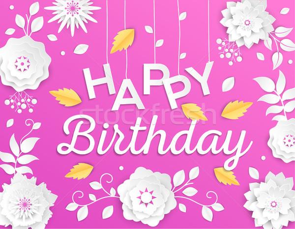 Stock foto: Alles · Gute · zum · Geburtstag · modernen · Vektor · farbenreich · Illustration · rosa