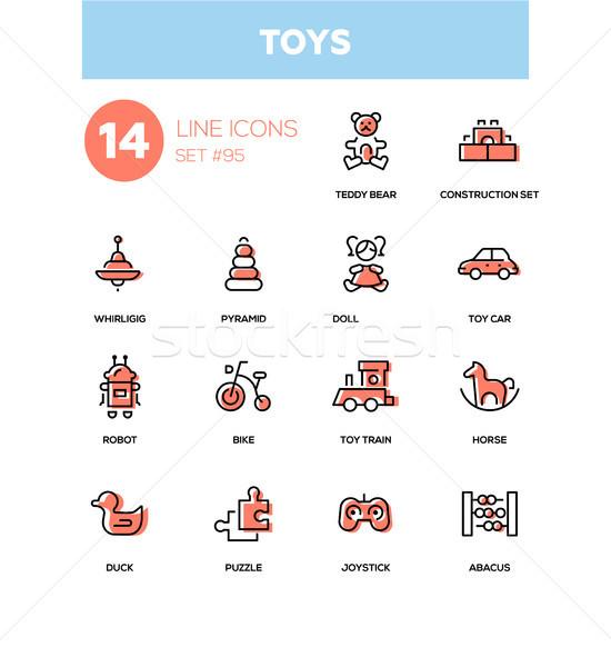 Toys - modern line design icons set Stock photo © Decorwithme