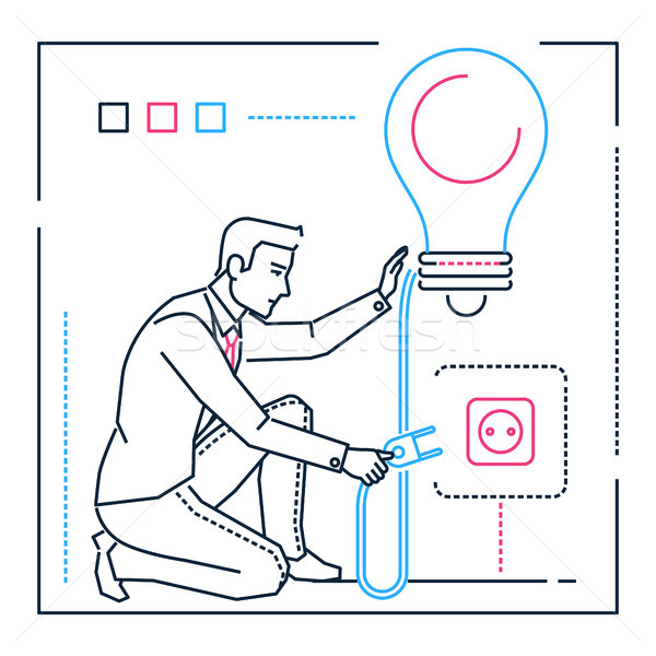 Businessman searching for ideas - line design style illustration Stock photo © Decorwithme