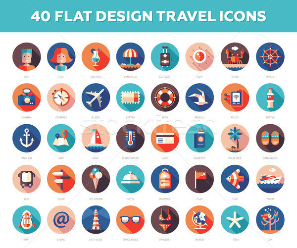 Set of modern flat design travel, vacation, tourism icons and in Stock photo © Decorwithme