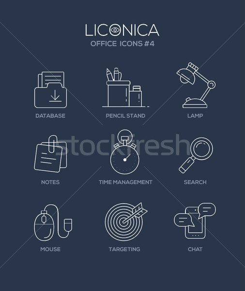 Set of modern office line flat design icons and pictograms.  Stock photo © Decorwithme