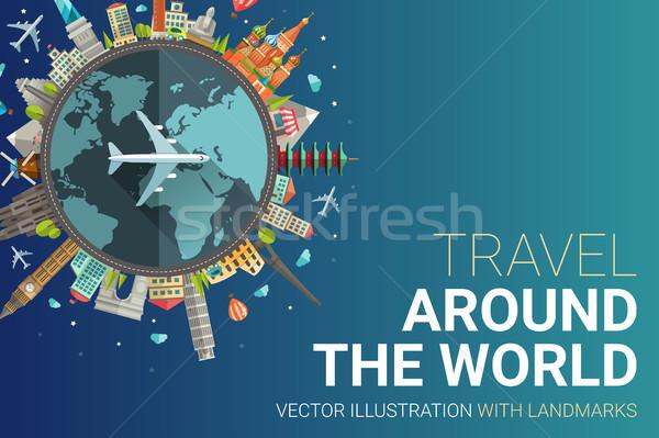 Around the world flat design postcard illustration Stock photo © Decorwithme
