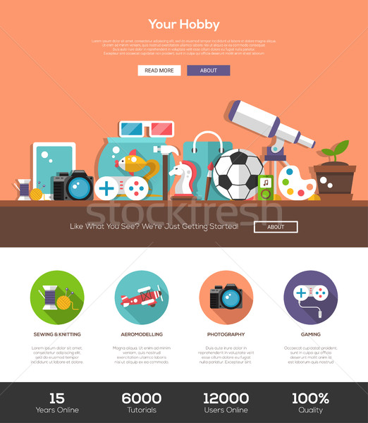 Hobbies website template with header and icons Stock photo © Decorwithme