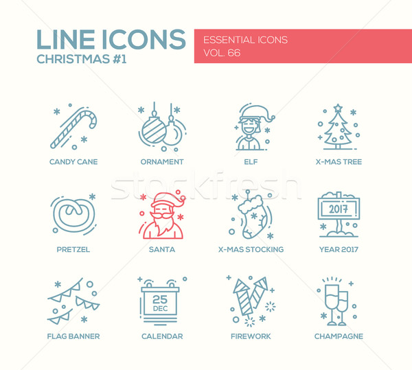 Christmas and New Year - simple line design icons set Stock photo © Decorwithme
