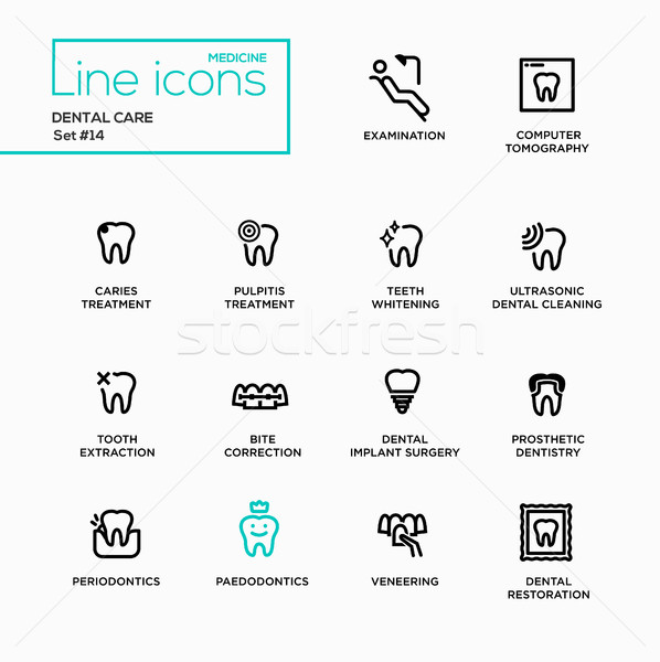 Dental Care - Single Line Pictograms Set Stock photo © Decorwithme