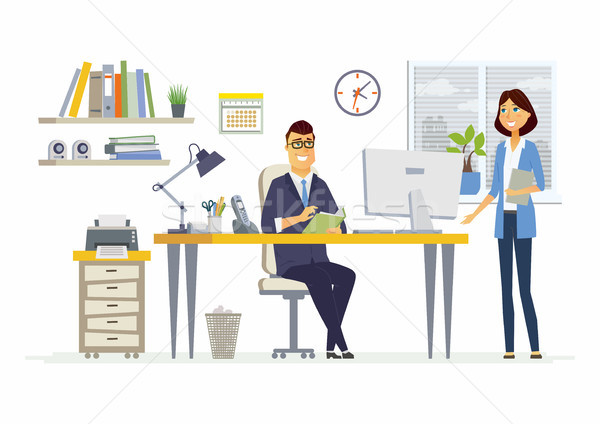 Kantoor vergadering moderne vector cartoon business Stockfoto © Decorwithme