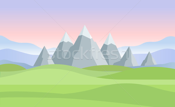 Sunset or dawn in mountains landscape - modern vector illustration Stock photo © Decorwithme