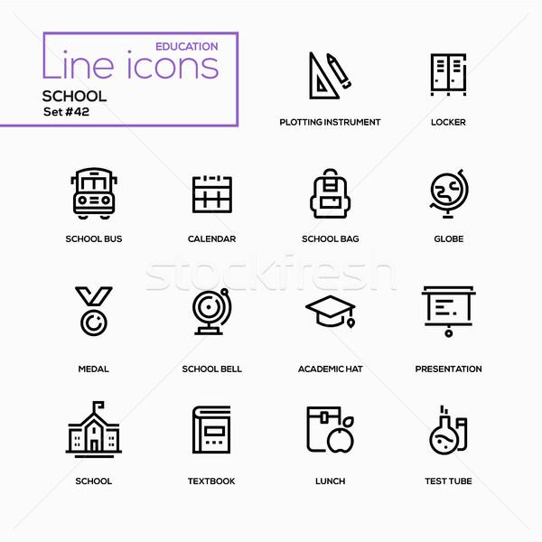 Stock photo: School concept - line design icons set