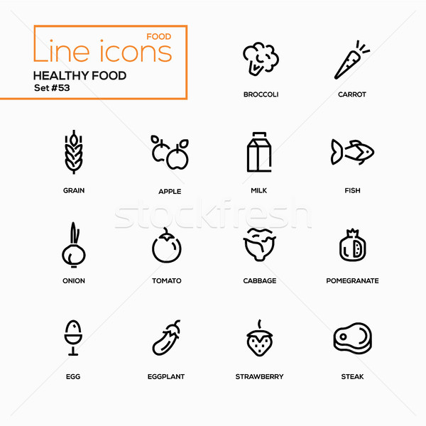 Healthy food - line design icons set. Stock photo © Decorwithme