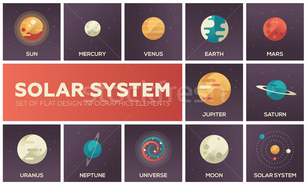 Solar system - set of flat design infographics elements Stock photo © Decorwithme