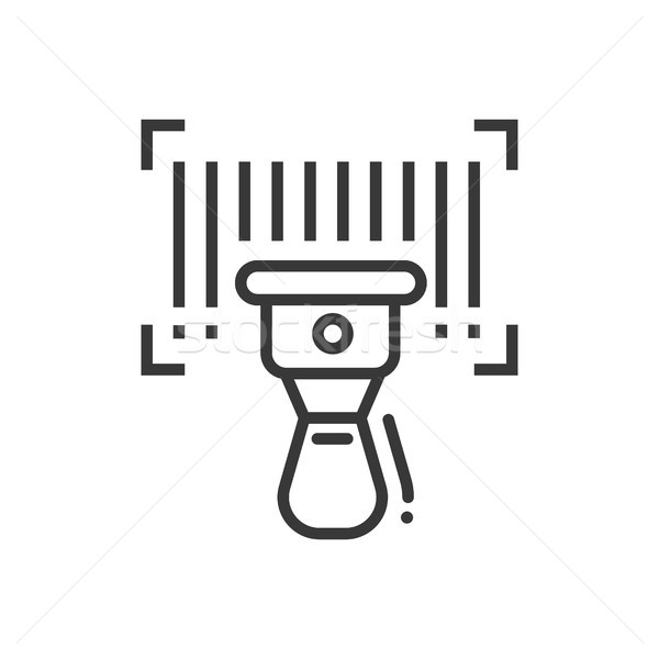 Barcode scanner - line design single isolated icon Stock photo © Decorwithme