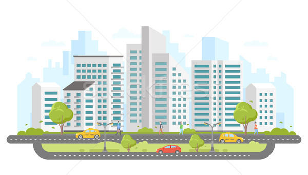 Modern city - colorful flat design style vector illustration Stock photo © Decorwithme