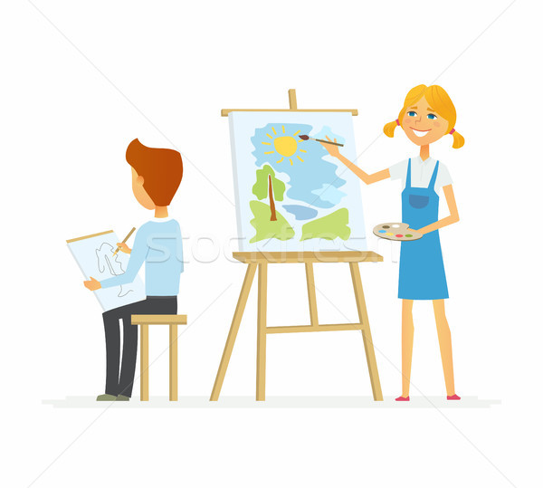 Two children drawing in class - cartoon people characters isolated illustration Stock photo © Decorwithme