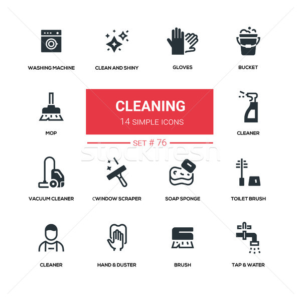 Cleaning - line design silhouette icons set Stock photo © Decorwithme
