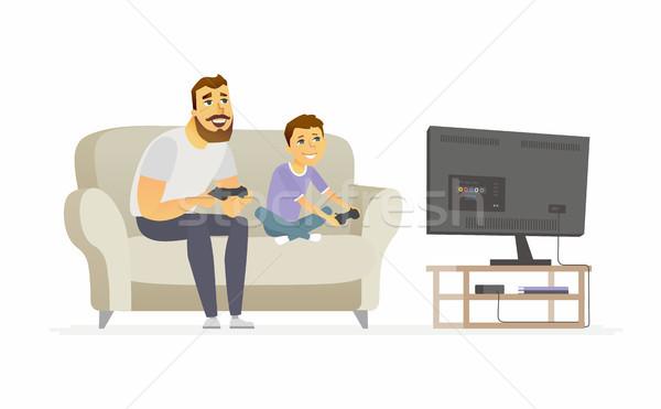 Hijo de padre jugando videojuegos ilustración Foto stock © Decorwithme