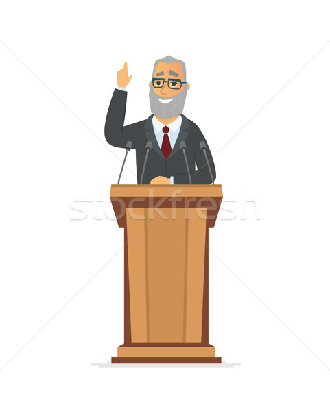 Senior politician - cartoon people character isolated illustration Stock photo © Decorwithme