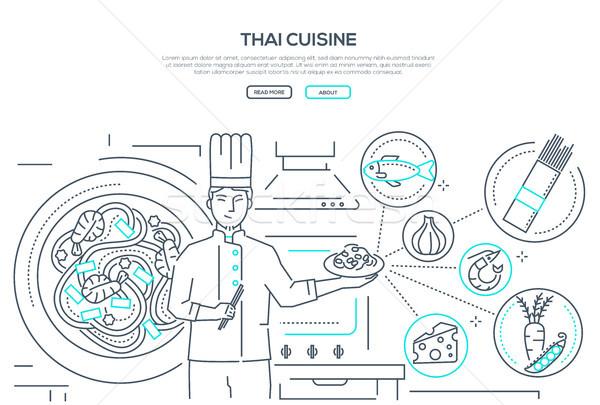 Сток-фото: тайский · кухня · линия · дизайна · стиль · баннер