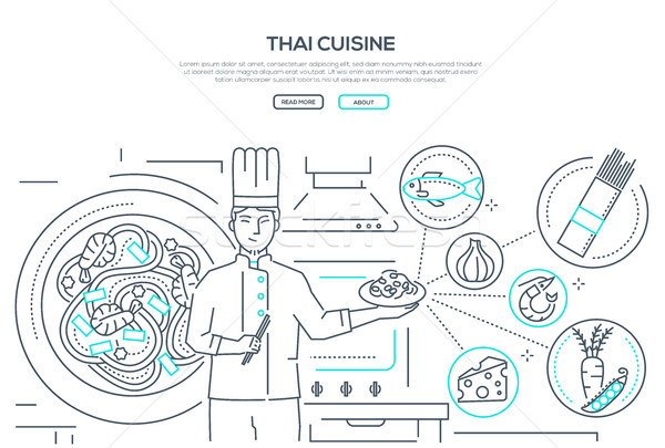 Thai cuisine - line design style banner Stock photo © Decorwithme