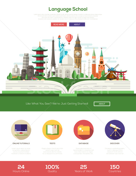Flat design language school website header banner with webdesign elements Stock photo © Decorwithme