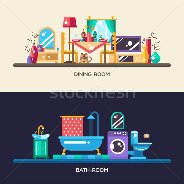 Terv otthon belső bannerek szett vektor Stock fotó © Decorwithme