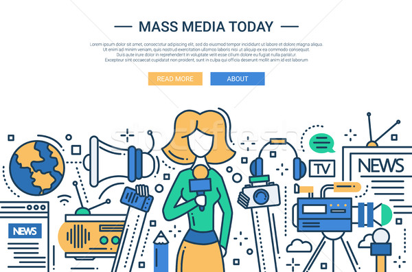 Mass Media Today - line design website header Stock photo © Decorwithme