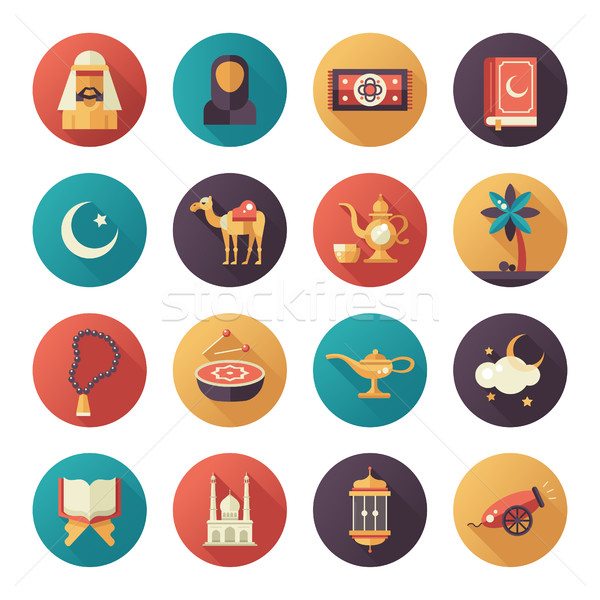 Islamic culture icons set Stock photo © Decorwithme
