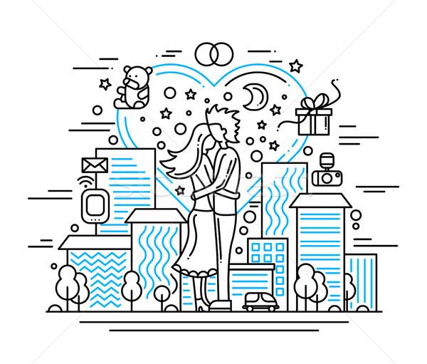 Házasság javaslat vonal terv illusztráció vektor Stock fotó © Decorwithme