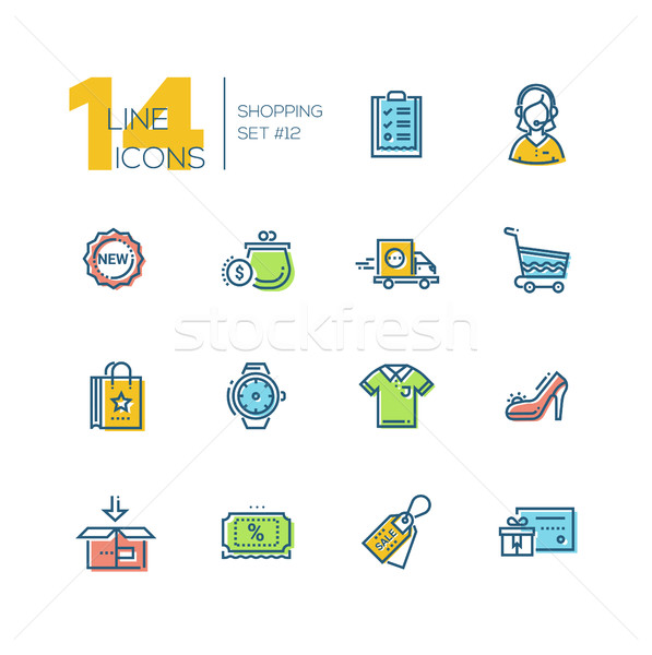 Shopping - thick line icons set Stock photo © Decorwithme