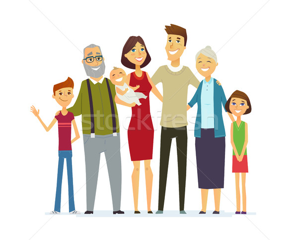 Family - coloured modern flat illustrative composition. Stock photo © Decorwithme