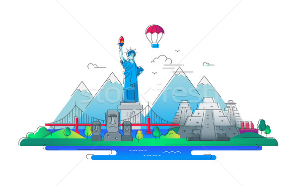 America - vector line travel illustration Stock photo © Decorwithme