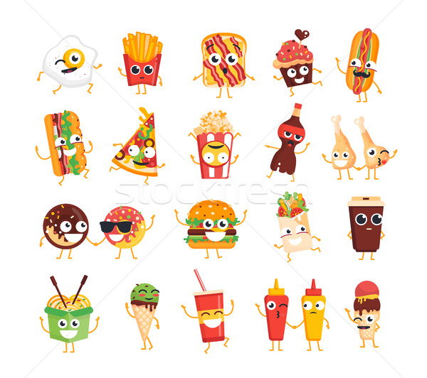 Fast food vector ingesteld mascotte illustraties Stockfoto © Decorwithme