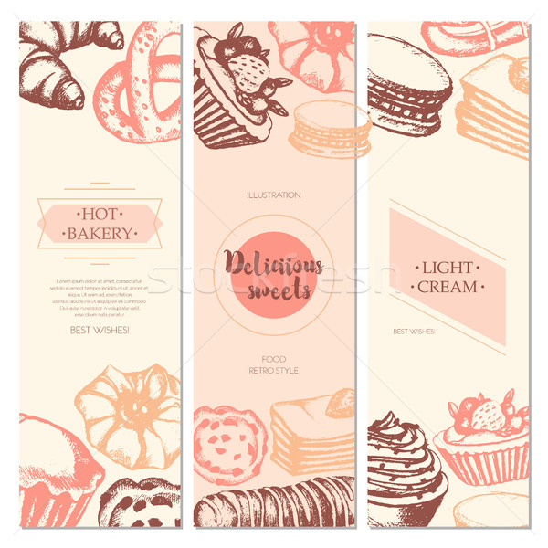 Delicious Sweets - color hand drawn square template card. Stock photo © Decorwithme