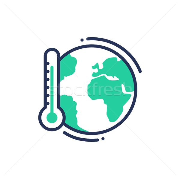 Глобальное потепление современных вектора линия икона изображение Сток-фото © Decorwithme
