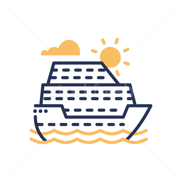 Passenger Ship - modern vector single line icon Stock photo © Decorwithme