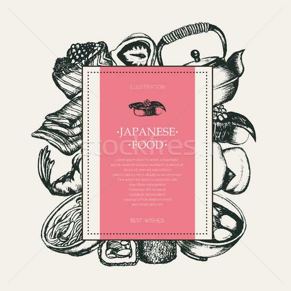 Japanese Food - monochromatic hand drawn square banner. Stock photo © Decorwithme