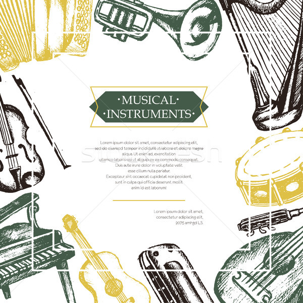 Musical Instruments - color hand drawn postcard template. Stock photo © Decorwithme