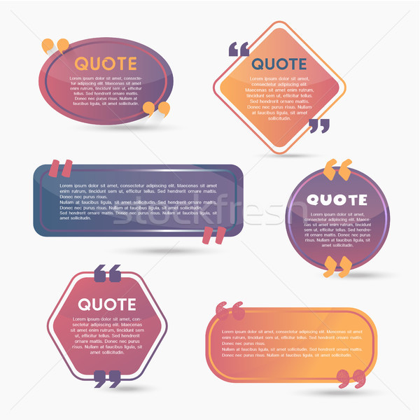 Quote Bubbles - modern vector color set of shapes with text Stock photo © Decorwithme