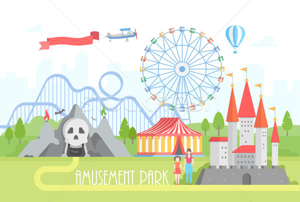 Amusement park - modern vector illustration Stock photo © Decorwithme