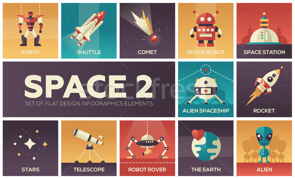 Space - set of flat design infographics elements Stock photo © Decorwithme