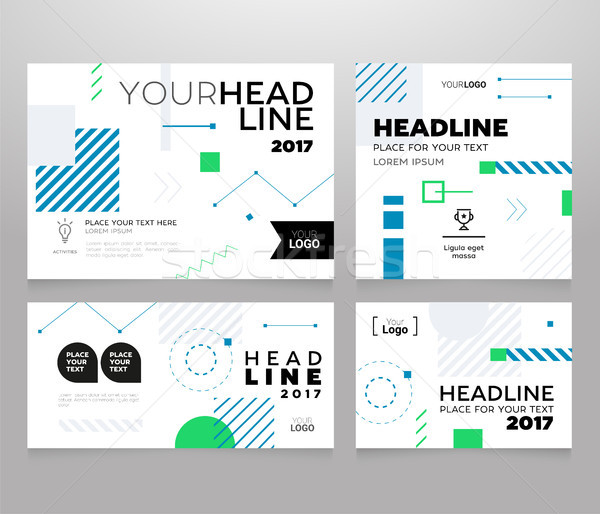 Stock photo: Headline banner - modern vector set of abstract images