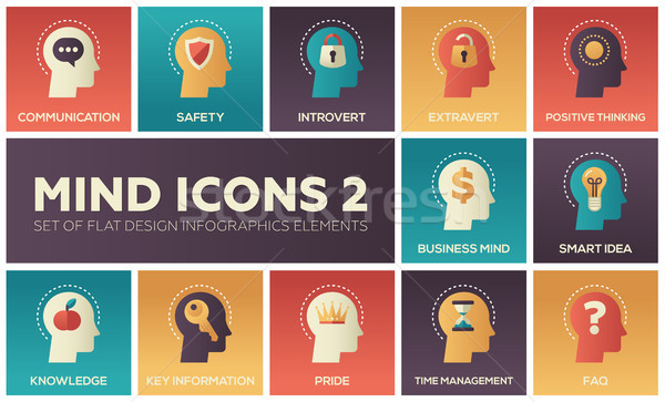 Mind icons - modern set of flat design infographics elements Stock photo © Decorwithme