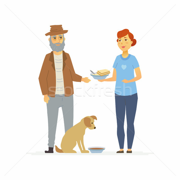 Volunteer bring food to homeless - cartoon people characters isolated illustration Stock photo © Decorwithme