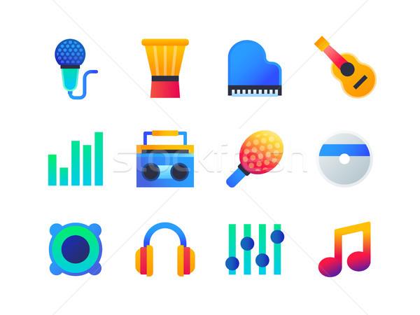 Foto stock: Música · conjunto · projeto · estilo · ícones · isolado