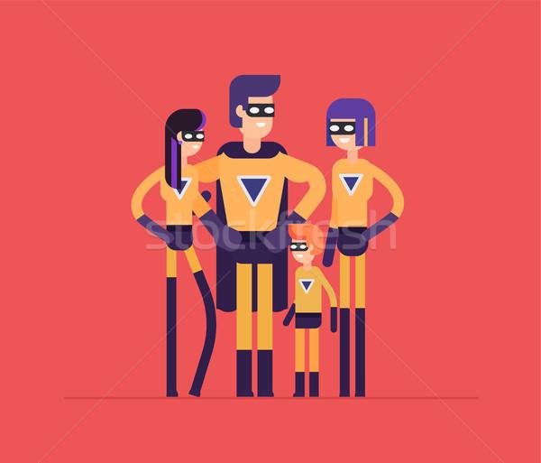 Superheroes family - modern flat design style isolated illustration Stock photo © Decorwithme