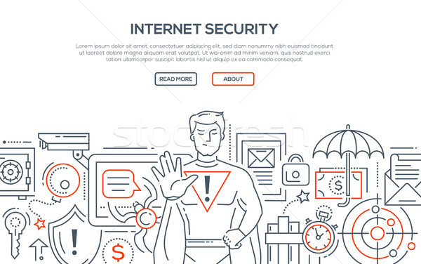 Stock photo: Internet security - modern line design style illustration