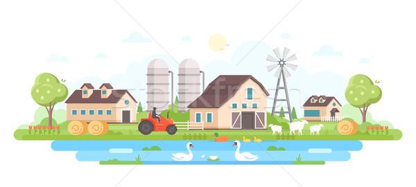 Farm - modern flat design style vector illustration Stock photo © Decorwithme