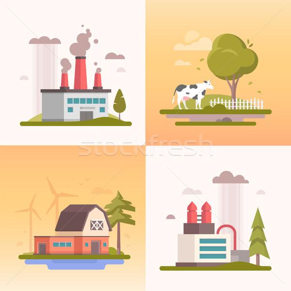 Сток-фото: экология · набор · современных · дизайна · стиль · вектора