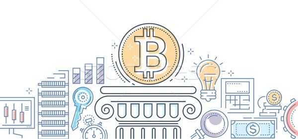 Bitcoin iş renkli hat dizayn stil Stok fotoğraf © Decorwithme