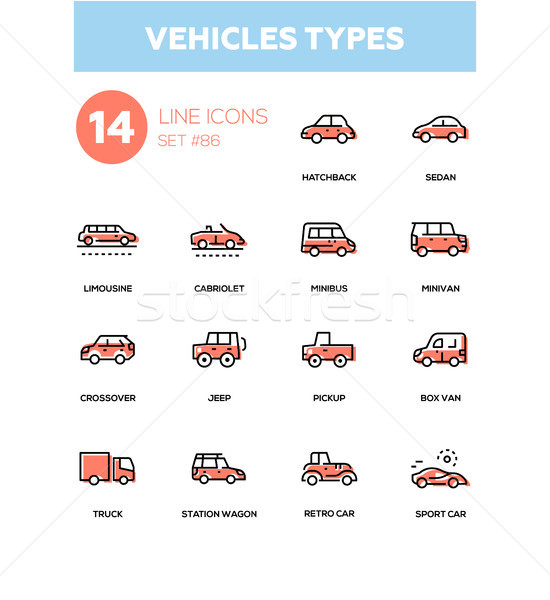 Vehicle types - line design icons set Stock photo © Decorwithme