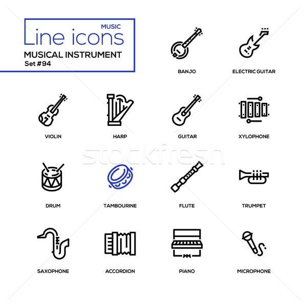 музыкальные инструменты современных линия дизайна черный Сток-фото © Decorwithme